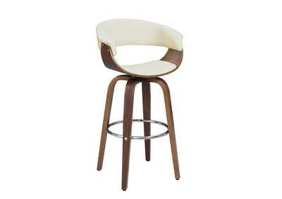 Image for Upholstered Swivel Bar Stool Walnut And Ecru