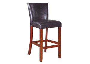 Image for Cherry Telegraph Faux Leather Brown Counter-Height Chair