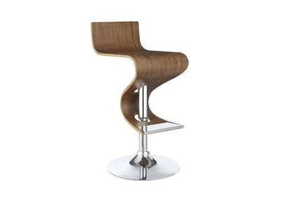 Walnut Contemporary Walnut Adjustable Bar Stool