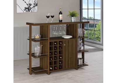 Walnut Modern Walnut Bar Unit W/ Wine Bottle Storage,Coaster Furniture