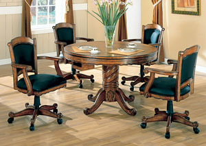 Image for Green & Oak Convertible Dining Table (Bumper Pool & Poker) w/4 Game Chairs