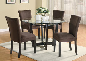 Image for Bloomfield Cappuccino Round Glass Top Dining Table w/4 Chocolate & Cappuccino Parson Chairs