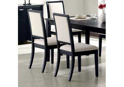 Image for Louise Upholstered Dining Side Chairs Black And Cream (Set of 2)