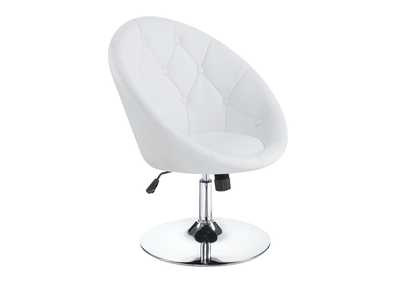 Chrome Contemporary White Faux Leather Swivel Accent Chair