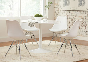 Image for White Round Dining Table w/4 White Side Chairs