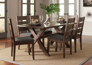 Image for Knotty Nutmeg Dining Table w/4 Dining Chairs