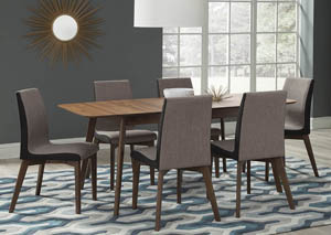 Natural Walnut Dining Table w/6 Side Chairs,Coaster Furniture