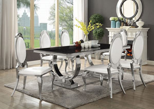 Silver/Black Rectangular Dining Table w/6 Side Chairs
