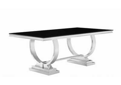 Silver/Black  Antoine Hollywood Glam Silver Dining Table