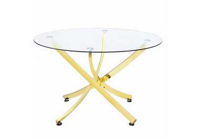 White Lilac Chanel Modern Brass Dining Table