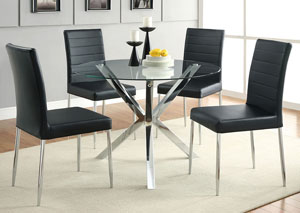 Image for Glass Top Dining Table w/4 Black & Chrome Chairs