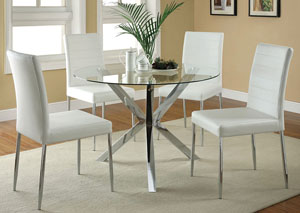 Image for Glass Top Dining Table w/4 White & Chrome Chairs