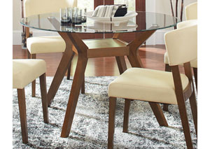 Paxton Nutmeg Round Glass Top Dining Table
