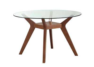Image for Gray Nurse Paxton Mid-Century Modern Nutmeg Glass Dining Table