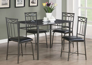 Image for Black Casual Metal Five-Piece Dining Set