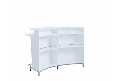 White High Gloss Contemporary White Bar Unit W/ Stemware Racks