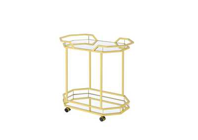 Mirror Traditional Brass Serving Cart