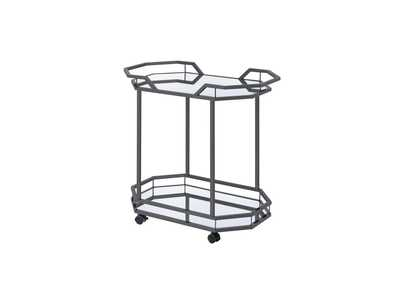 Mirror Traditional Black Nickel Serving Cart