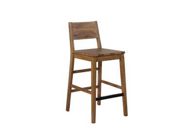 Open Back Bar Stools Varied Natural (Set of 2)