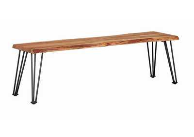 Chocolate Industrial Natural Acacia Dining Bench
