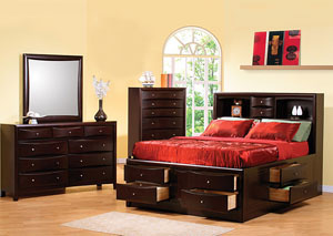 Image for Phoenix Cappuccino Queen Storage Bed w/Dresser & Mirror