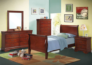 Sambuca Louis Philippe Red Brown Two-Drawer Nightstand,Coaster Furniture