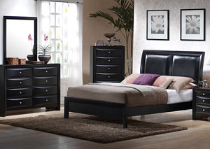Image for Briana Black Queen Bed w/Dresser & Mirror