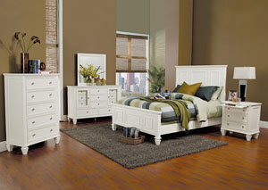 Image for Sandy Beach White King Bed w/Dresser & Mirror
