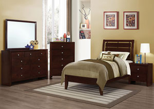 Image for Serenity Merlot Twin Bed w/Dresser & Mirror