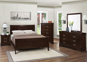 Louis Philippe Cappuccino Queen Bed w/Dresser & Mirror,Coaster Furniture