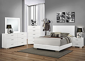 Image for High Gloss White Eastern King Bed w/Dresser & Mirror