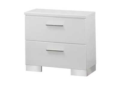 Glossy White Felicity Contemporary Two-Drawer Nightstand,Coaster Furniture