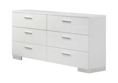 Glossy White Felicity Contemporary Six-Drawer Dresser,Coaster Furniture