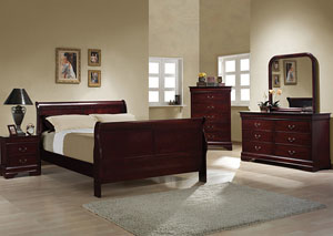 Louis Philippe Cherry Queen Bed w/Dresser & Mirror