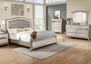 Metallic Platinum Queen Bed w/Dresser & Mirror