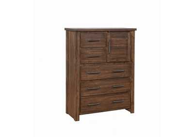 Spice Sutter Creek Warm Bourbon Five-Drawer Chest W/ Door,Coaster Furniture