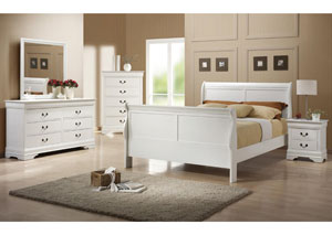 Louis Philippe White Twin Bed w/Dresser & Mirror