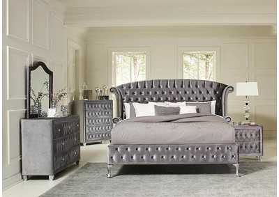 Soft Amber Deanna Contemporary Metallic California King Bed