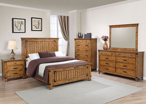 Image for Natural & Honey Queen Panel Bed w/Dresser & Mirror