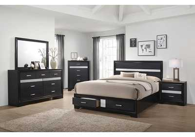 Image for Miranda Black Queen Storage Bed W/ Dresser & Mirror