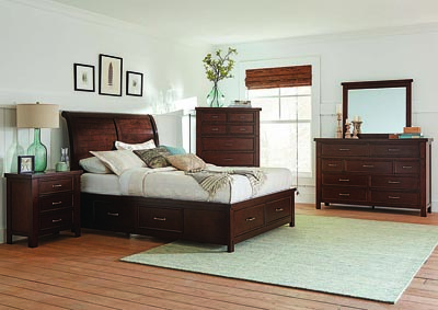 Barstow Pinot Noir Eastern King Storage Bed w/Dresser & Mirror,Coaster Furniture