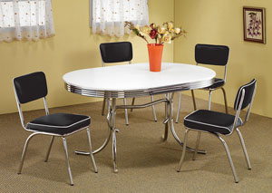 Oval Retro Dining Table w/4 Chrome Plated Retro Dining Chairs