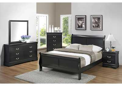 Mine Shaft Louis Philippe Traditional Black Queen Bed,Coaster Furniture