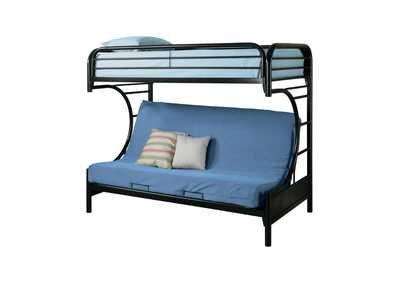 Image for Horizon Contemporary Glossy Black Futon Bunk Bed