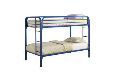 Sisal Morgan Twin-over-Twin Blue Bunk Bed