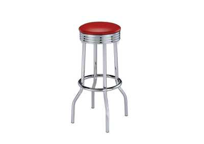 Upholstered Top Bar Stools Red And Chrome (Set of 2)