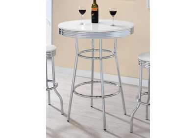White High Gloss White Contemporary Round Bar Table,Coaster Furniture