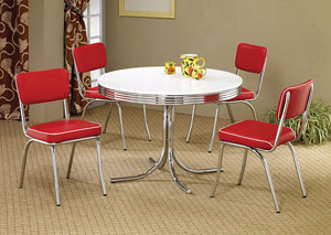 Round Retro Dining Table w/4 Red Side Chairs