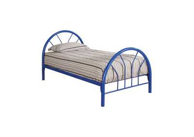 Cotton Seed Transitional Blue Twin Bed