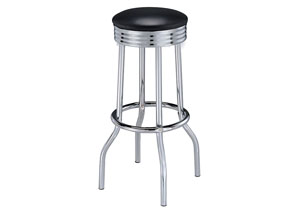 Upholstered Top Bar Stools Black And Chrome (Set of 2)